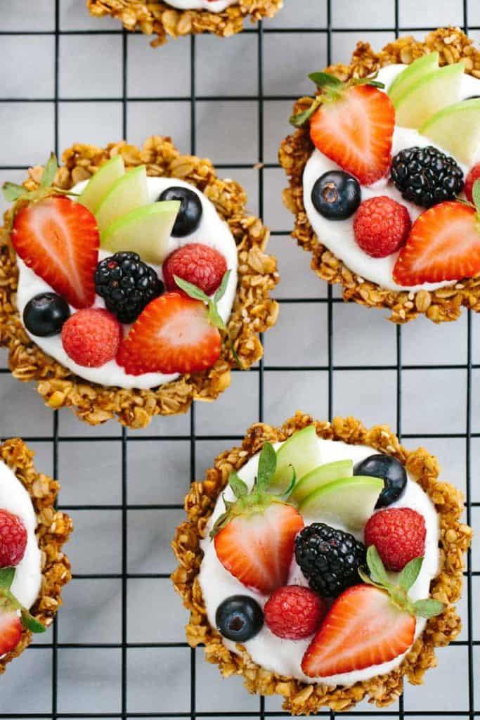 Fruit Tart with Granola and Yogurt