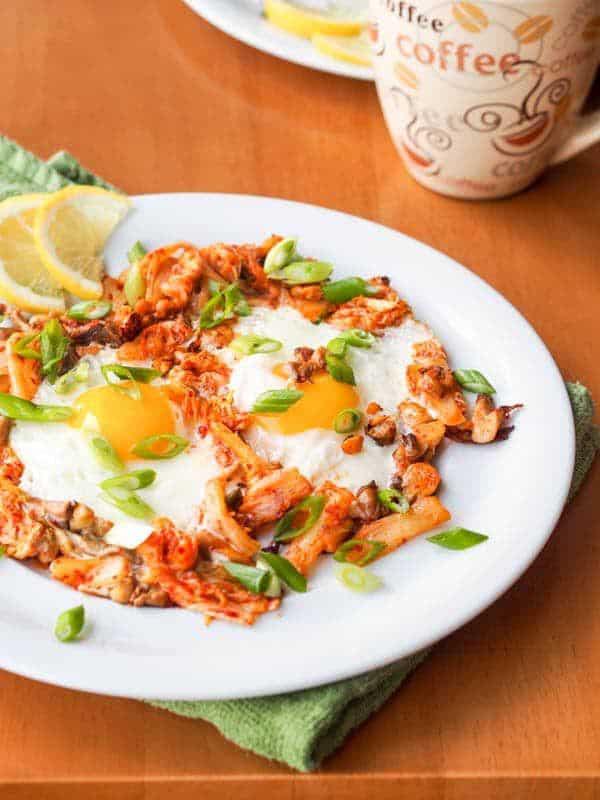 Kimchi Egg Skillet with Oyster Mushrooms