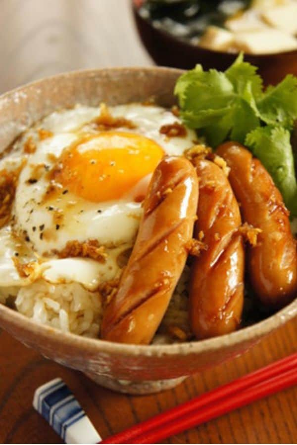 Breakfast Bowl with Sausage and Soy Sauce
