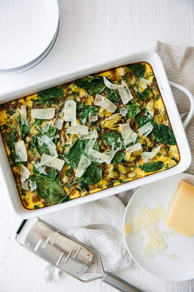 Healthy Breakfast Casserole with Turkey and Veggies