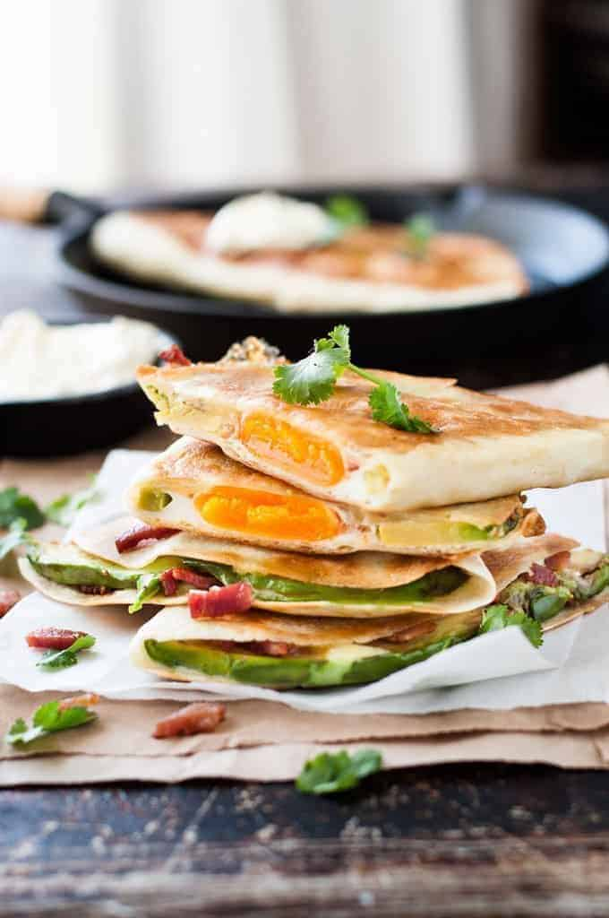 Breakfast Quesadilla with Bacon, Egg, and Avocado