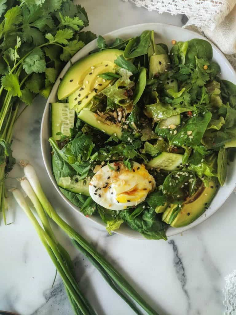 Asian Breakfast Salad with Sesame Vinaigrette