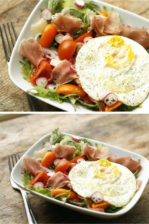 Kale, Radish, Egg, and Prosciutto Breakfast