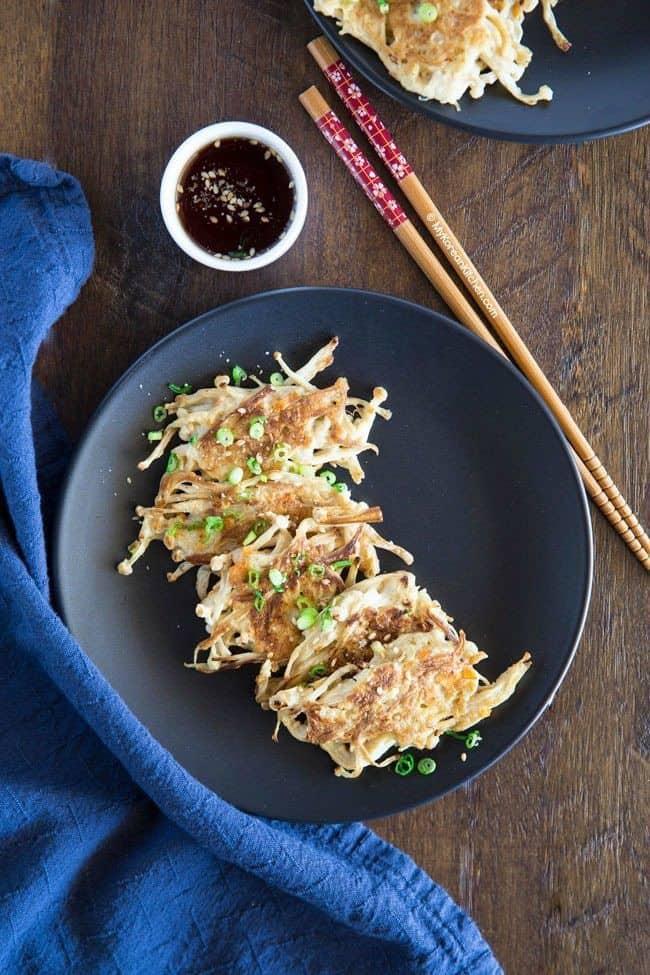 Korean Enoki Mushroom Pancakes
