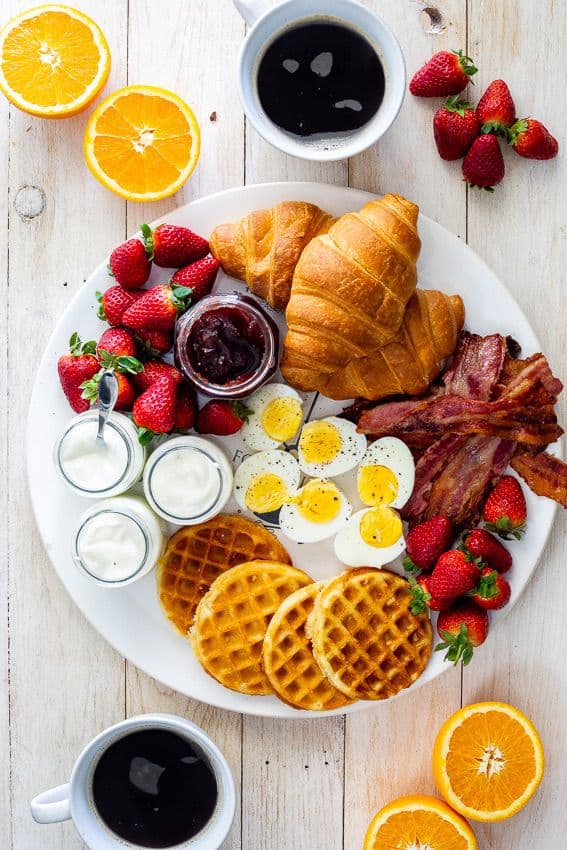 Complete Breakfast Platter with Fruits