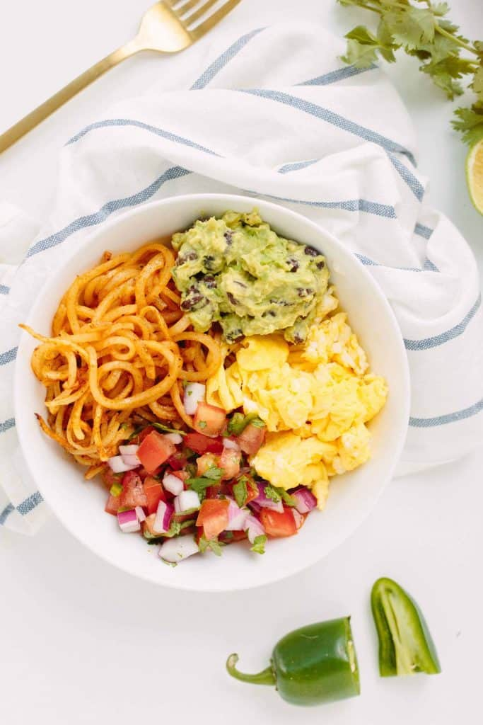 "Mexican Breakfast Bowl with Potato ""Noodles"""