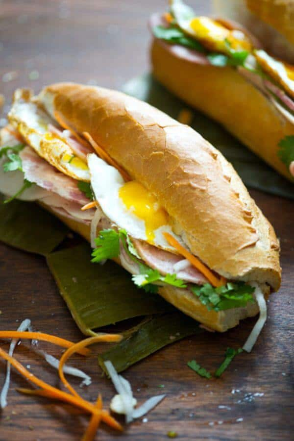 Vietnamese Banh Mi with Fried Egg