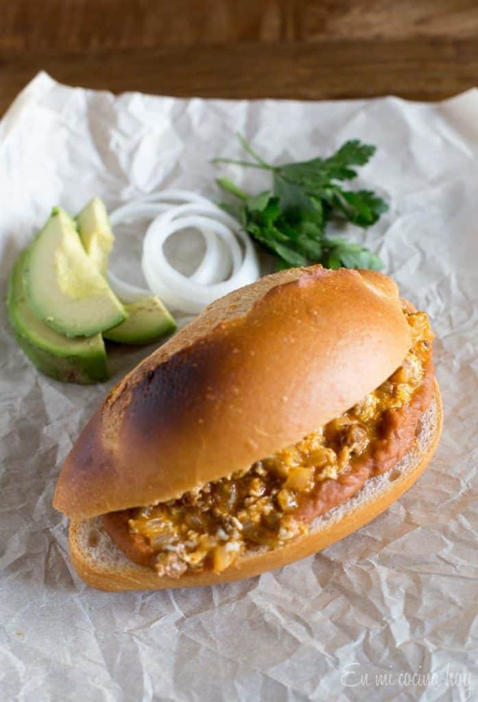 Mexican Torta with Eggs, Chorizo, and Frijoles