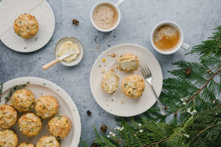 Cheesy Cornmeal Muffins with Thyme and Scallion