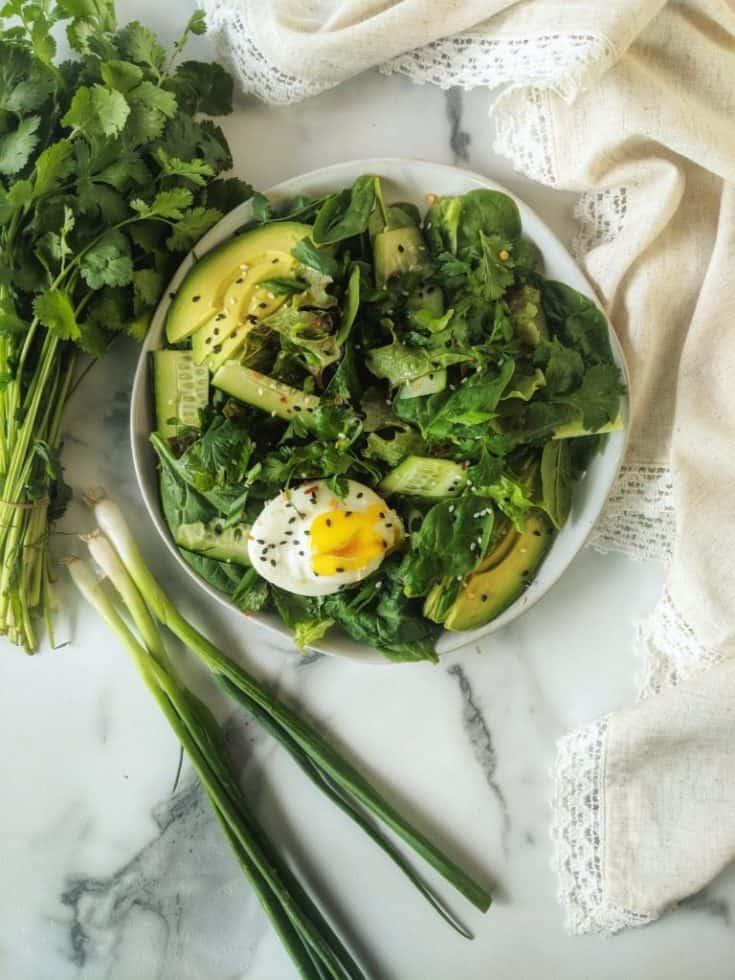 Asian Breakfast Salad with Sesame Vinaigrette