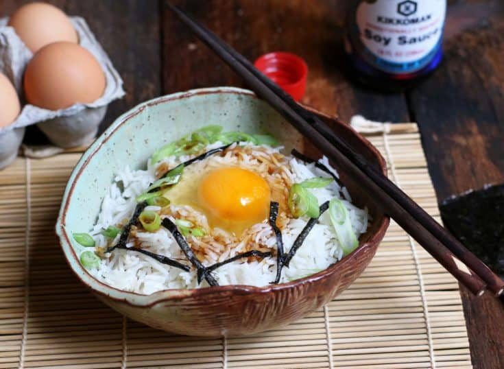 Japanese Breakfast Rice Bowl with Egg