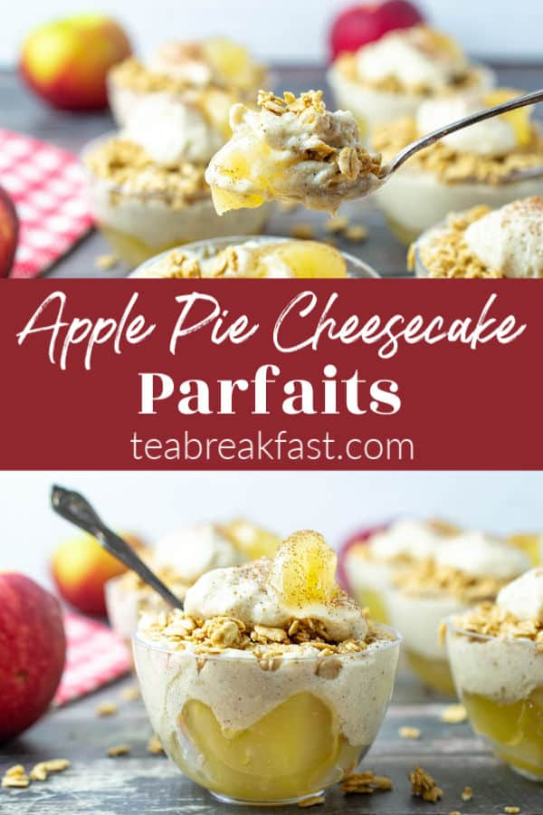 This is a cute little dessert you can whip up in no time for the fall season. Layers of apple pie filling, a pudding/cream cheese filling with cinnamon and topped with granola. #applepie #pie #pierecipes #dessert