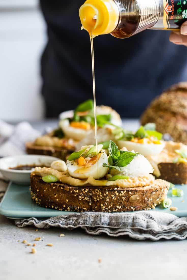 Asian Inspired Hummus Breakfast Toast