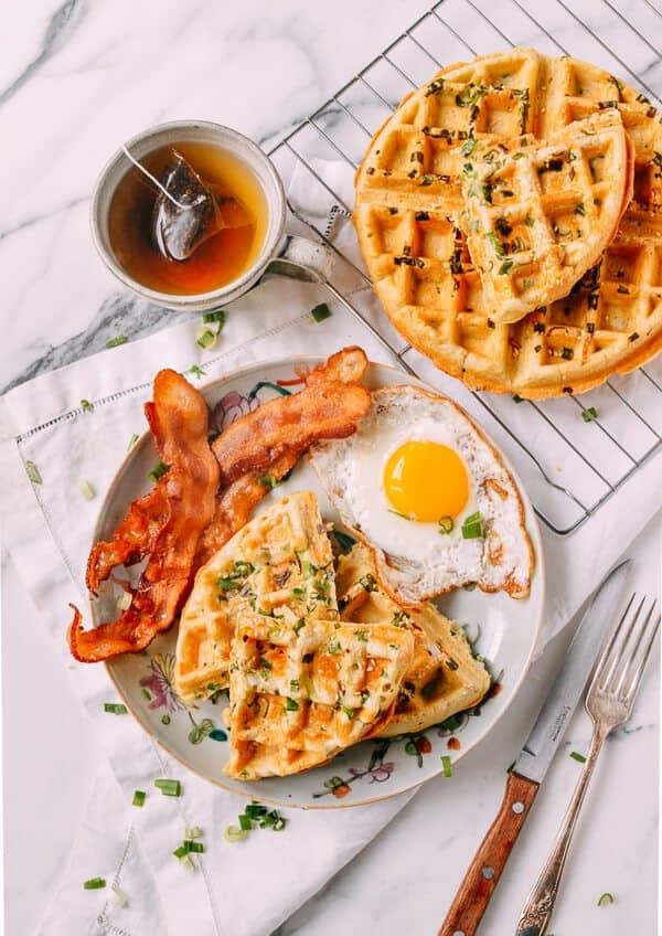 Sesame Scallion Waffles