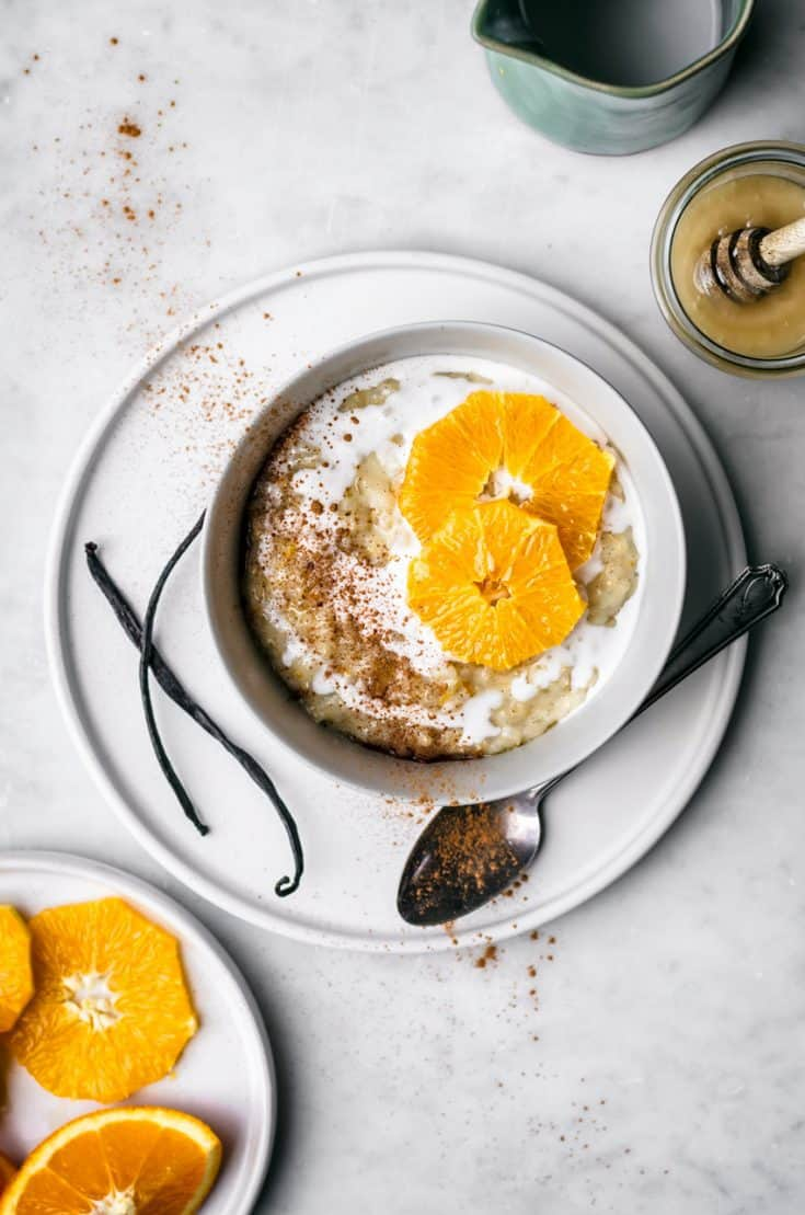 Orange Vanilla Brown Rice Pudding