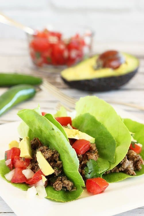 "Lettuce ""Taco"" with Ground Beef"