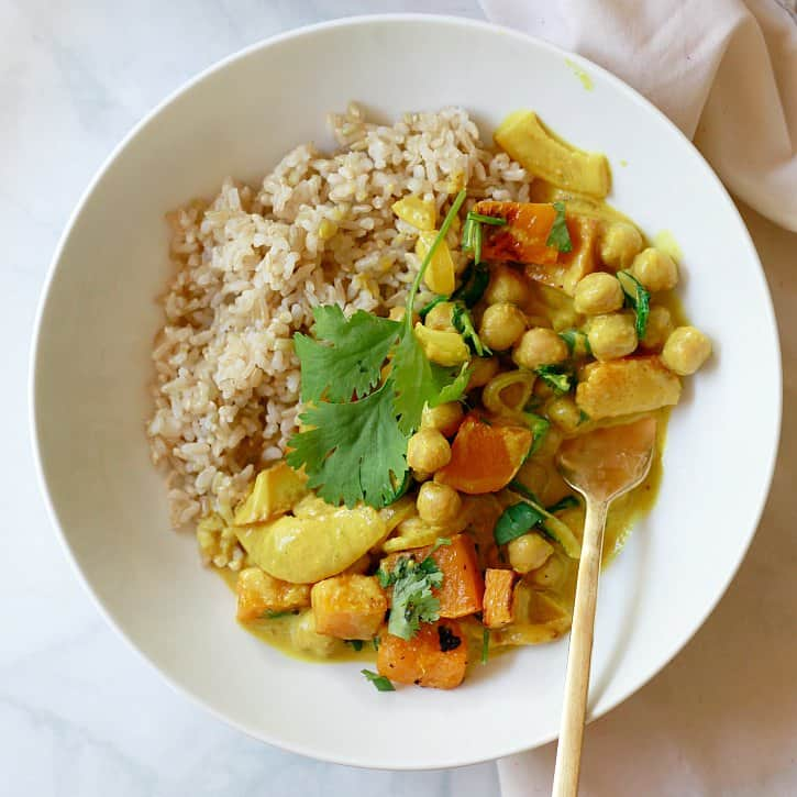 Coconut Chickpea Curry with Butternut Squash and Spinach
