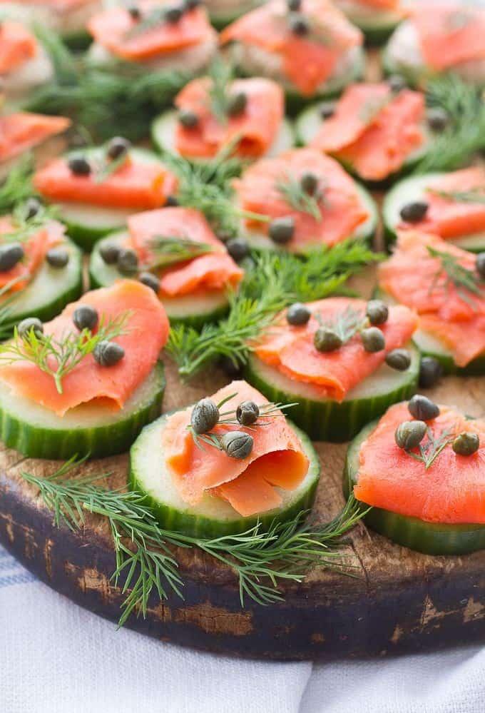 Smoked Salmon on Cucumber Slices