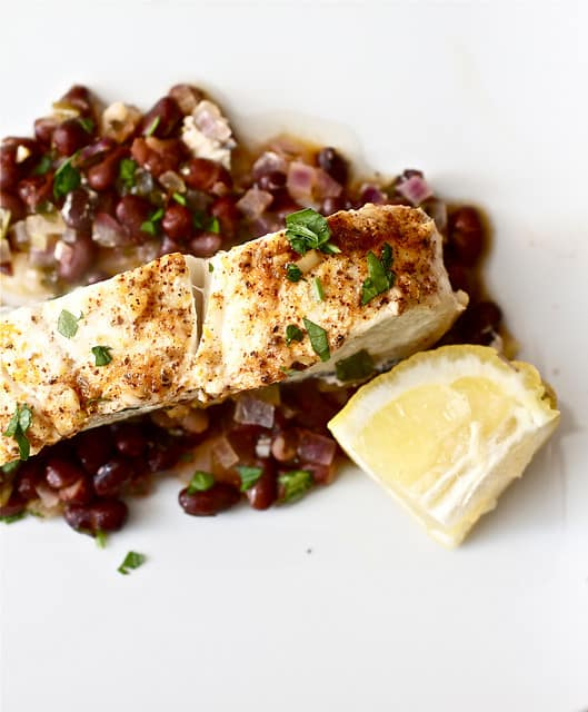 Baked Halibut and Black Beans