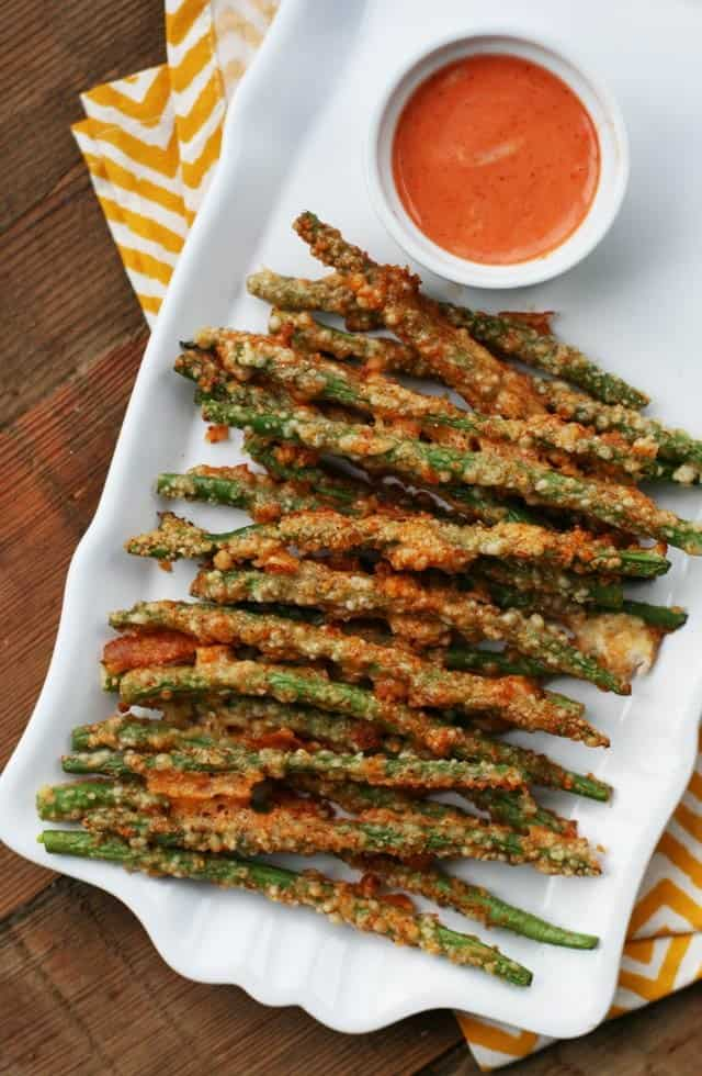 "Baked ""Green Bean Fries"" with Parmesan"
