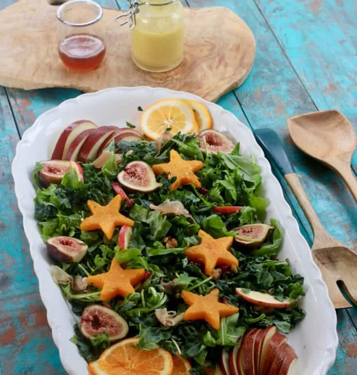 Kale Salad with Butternut Squash and Honey Rosemary Vinaigrette