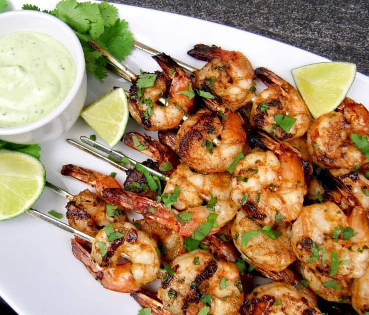 Grilled Lime Cilantro Shrimp Skewers