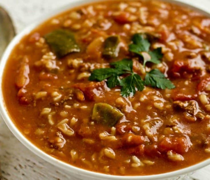 Crockpot Pepper Soup with Rice and Orzo