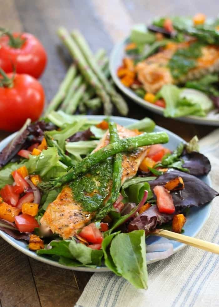 Salmon Salad with Baked Squash and Basil Dressing