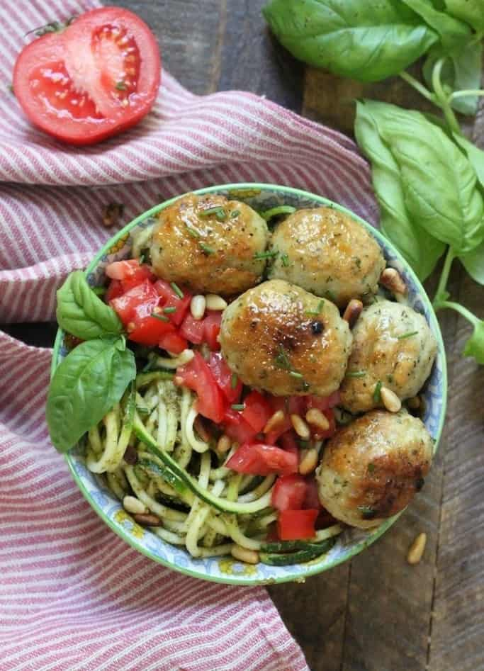 Italian meatballs with pesto zoodles