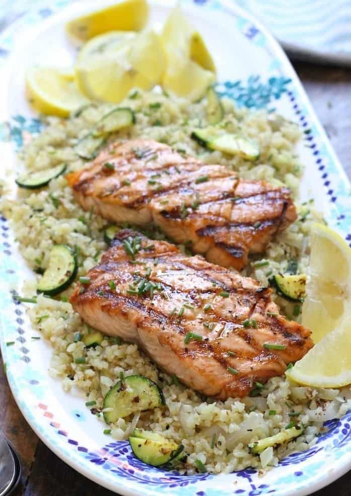 Grilled Salmon on Cauliflower Rice