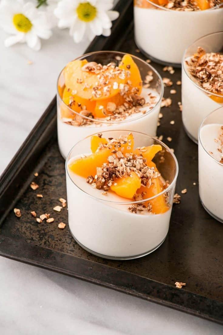 Peaches, yogurt, and cinnamon granola panna cotta