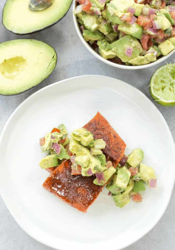 Avocado Salsa with Baked Salmon Cuts