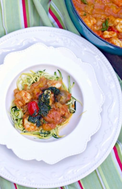 Italian spicy shrimp zoodles with olives