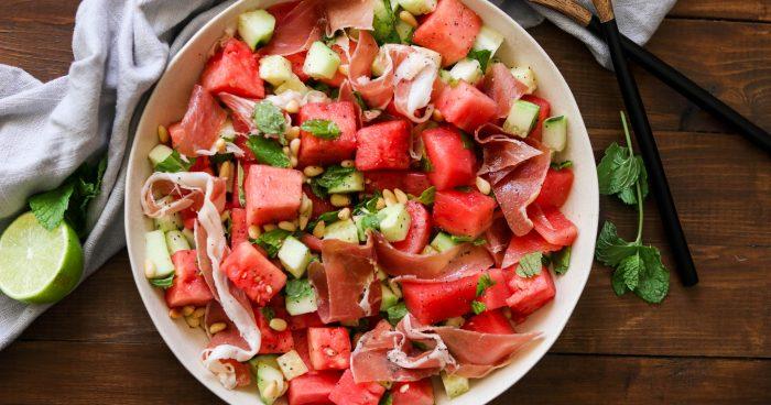 Watermelon Cucumber Salad with Prosciutto