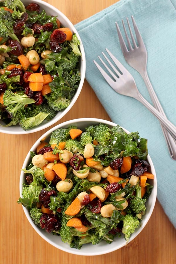 Kale and Broccoli Salad with Fruits and Nuts