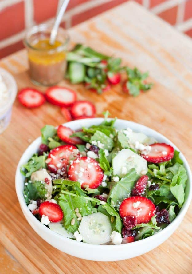 Strawberry, Kale, and Cucumber Salad