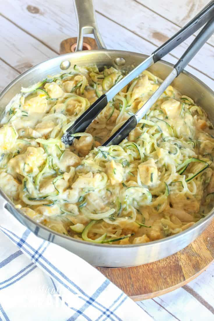 One-pot cheesy chicken with zoodles