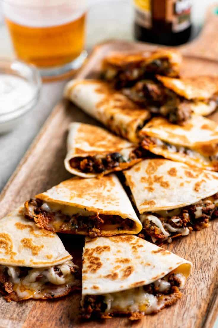 Melty Cheese and Beef Quesadilla