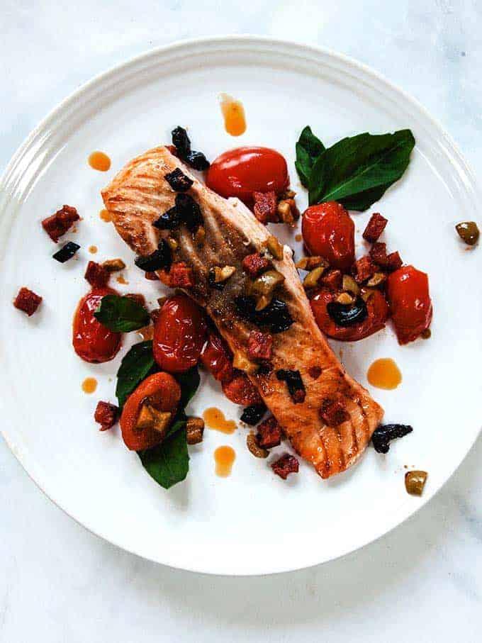 Salmon Filets with Chorizo and Tomatoes