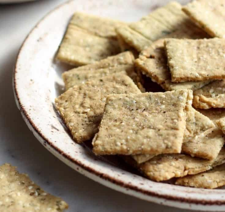 Paleo Sesame and Almond Crackers