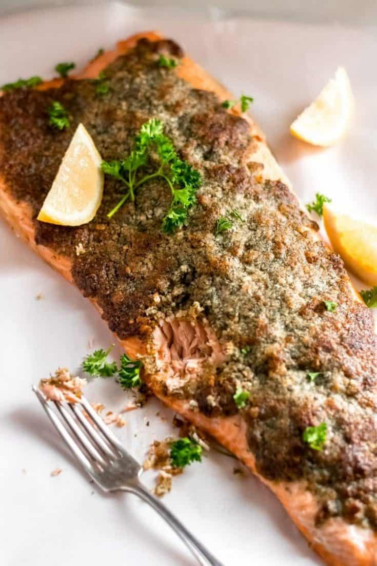 Baked Salmon with Pork Rind, Dill, and Parmesan