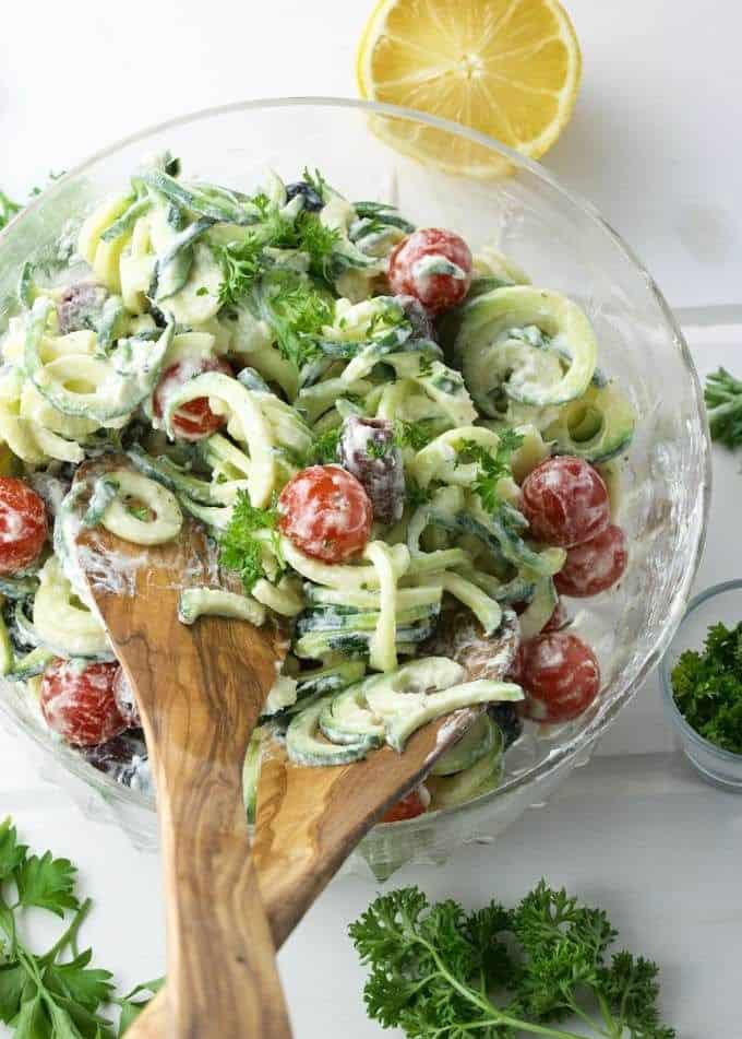 Creamy goat cheese zoodle salad with Greek seasoning