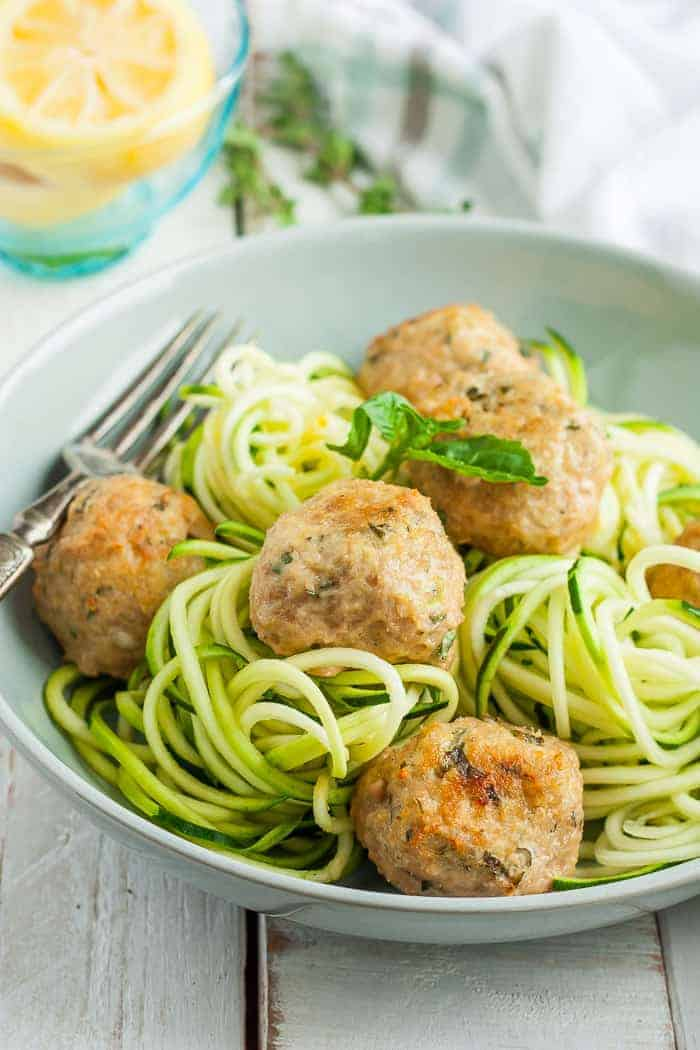 Greek turkey meatballs with zoodles