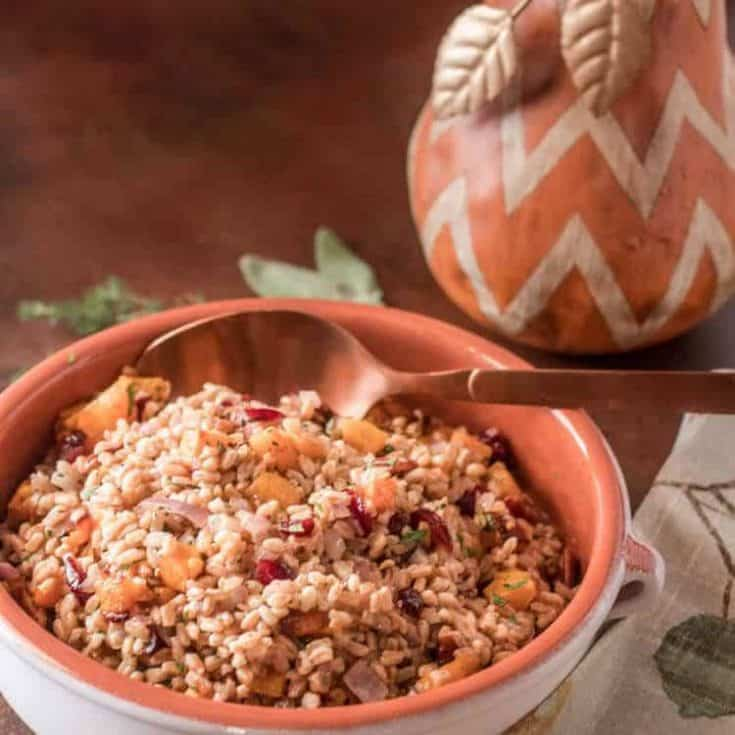 Herbed Farro Dressing with Butternut Squash, Dried Cherries, and Pecans