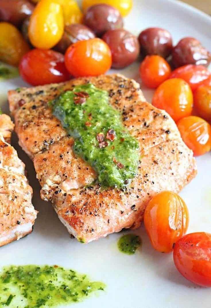 Seared Salmon and Chimichurri Pasta