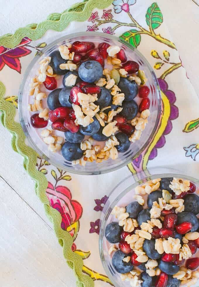 Pomegranate and blueberries yogurt parfait