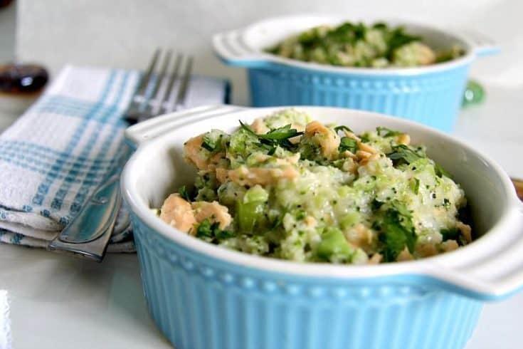 Cauliflower Risotto with Salmon and Broccoli