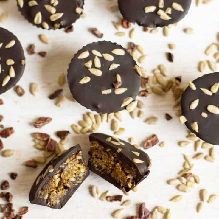 Dark Chocolate Cups with Sunflower Seeds