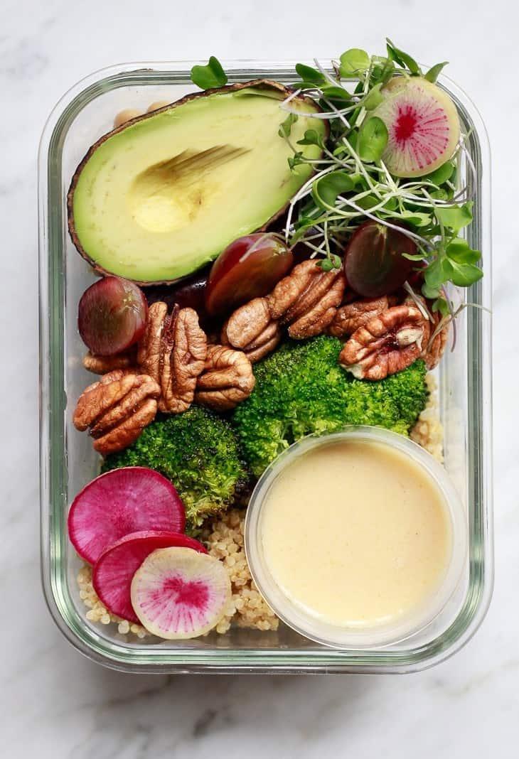 Vegan Meal Prep Bowls with Broccoli, Grapes, Pecans, and Quinoa