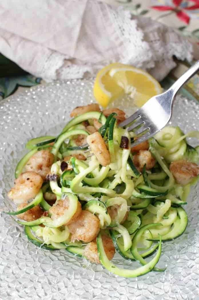 Zoodles with garlic and shrimp